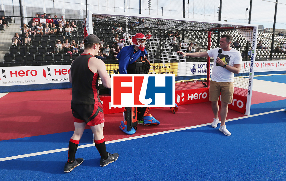 LONDON, ENGLAND - JUNE 15:  Half time entertainment during the Hero Hockey World League Semi Final match between Netherlands and Pakistan at Lee Valley Hockey and Tennis Centre on June 15, 2017 in London, England.  (Photo by Alex Morton/Getty Images)