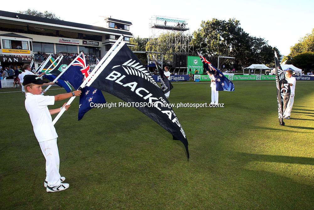 Flag bearers. New Zealand Black Caps v South Africa, International Twenty-20 at Seddon Park, Hamilton, New Zealand. Sunday 19th February 2012. Photo: Anthony Au-Yeung/photosport.co.nz