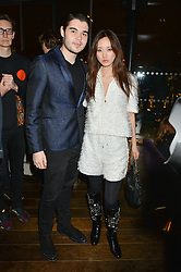ROBERT CAVALLI son of Roberto Cavalli and BETTY BACHZ at a party hosted by Christian Lacroix partnered with Supa Model Management to celebrate London Men's Collections January 2015, held at the Rumpus Room, the roof top bar at the top of the Mondrian London, 20 Upper Ground, London SE1 on 12th January 2015.