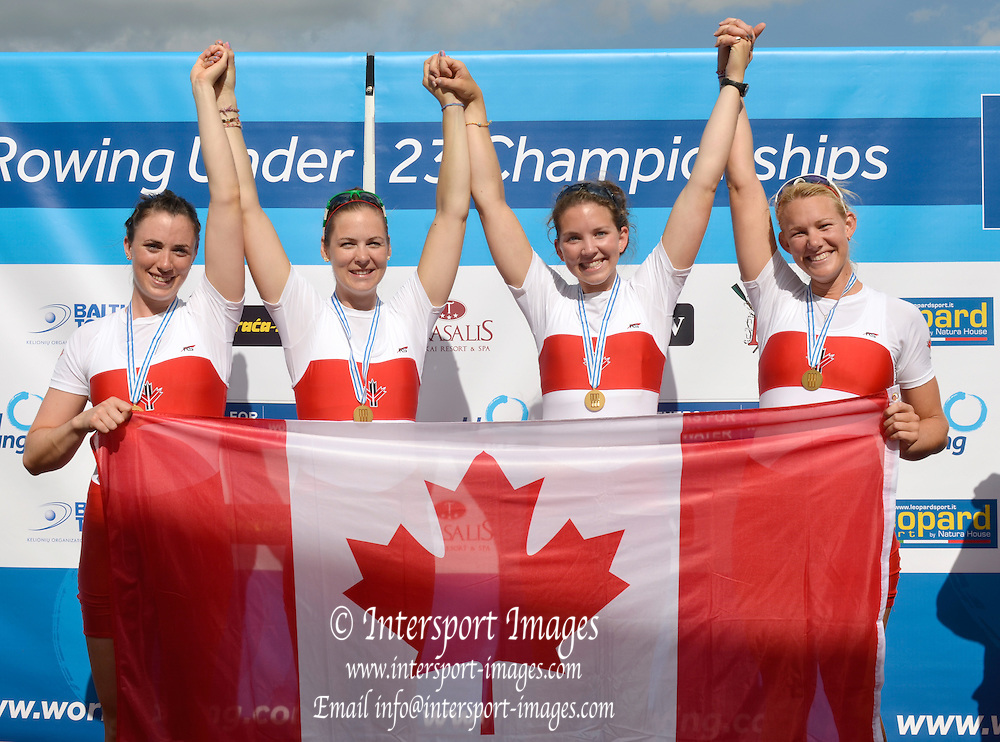 Trackai. LITHUANIA. CAN BW4-. Bow, Christine ROPER, Susanne GRAINGER, Cherly COPSON and Antje VON SEYDLITZ-KURZBACH Gold medalist in the some' men's four at the 2012 FISA U23 World Rowing Championships,  Lake Galve.    16:38:10  Saturday  14/07/2012 [Mandatory Credit: Peter Spurrier/Intersport Images]..Rowing. 2012. U23.