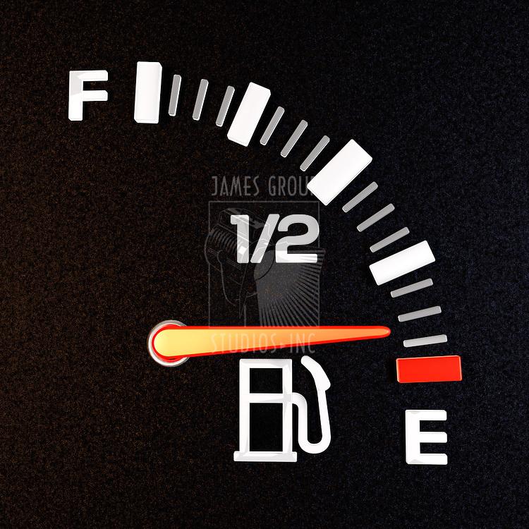 A gas gauge showing empty