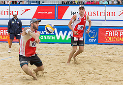 30.07.2015, Strandbad, Klagenfurt, AUT, A1 Beachvolleyball EM 2015, im Bild Tobias Winter 1 AUT / Lorenz Petutschnig 2 AUT // during of the A1 Beachvolleyball European Championship at the Strandbad Klagenfurt, Austria on 2015/07/30. EXPA Pictures © 2015, EXPA Pictures © 2015, PhotoCredit: EXPA/ Mag. Gert Steinthaler