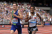 Jul 20, 2019; London, United Kingdom; Hagos Gebrhiwet (ETH) defeats Jakob Ingebrigtsen (NOR) to win the 5,000m, 13:01.86 to 13:02.03, during the London Anniversary Games at London Stadium at  Queen Elizabeth Olympic Park.
