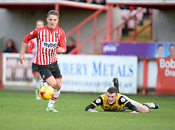 Exeter City's Tom Nichols attacks inside the northampton half. - Photo mandatory by-line: Alex James/JMP - Mobile: 07966 386802 - 10/01/2015 - SPORT - football - Exeter - St James Park - Exeter City v Northampton - Sky Bet League Two