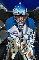 KELOWNA, CANADA, NOVEMBER 25: Nathan Lieuwen #31 of the Kootenay Ice stands in front of the gate as the Kootenay Ice visit the Kelowna Rockets  on November 25, 2011 at Prospera Place in Kelowna, British Columbia, Canada (Photo by Marissa Baecker/Shoot the Breeze) *** Local Caption *** Nathan Lieuwen;