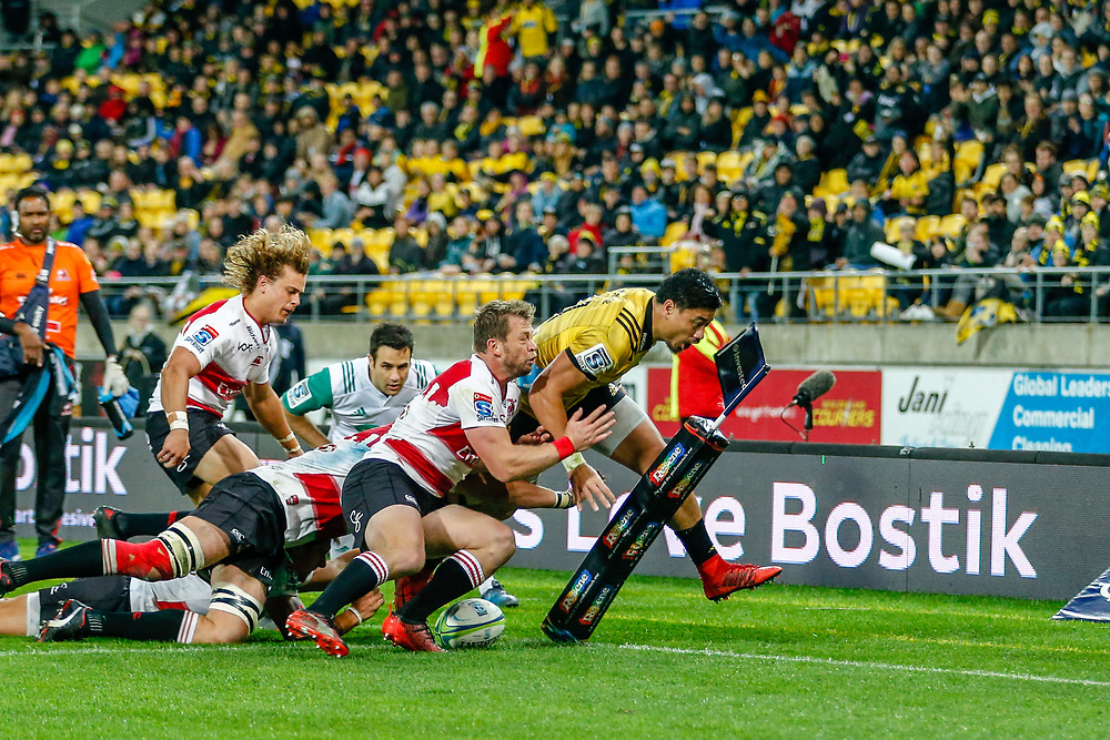 Ben Lam  during the Super rugby (Round 12) match played between Hurricanes  v Lions, at Westpac Stadium, Wellington, New Zealand, on 5 May 2018.  Hurricanes won 28-19.