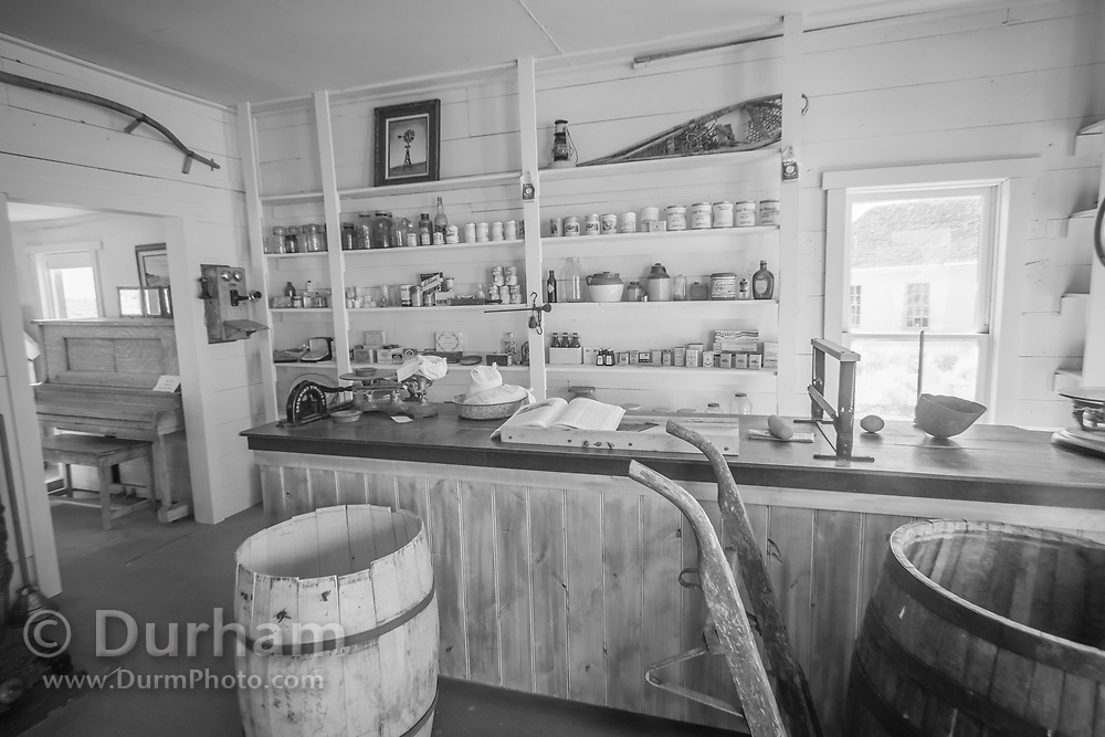Preserved general store in Fort Rock, Oregon. In 1988 the Fort Rock Valley Historical Society opened the Fort Rock Homestead Village Museum which preserves and protects homestead-era structures. The buildings were moved from their original locations to the museum site just west of the town of Fort Rock., Oregon. © Michael Durham