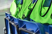 vests are ready before the Sky Bet League 1 match between Bury and Port Vale at Gigg Lane, Bury, England on 19 September 2015. Photo by Mark Pollitt.