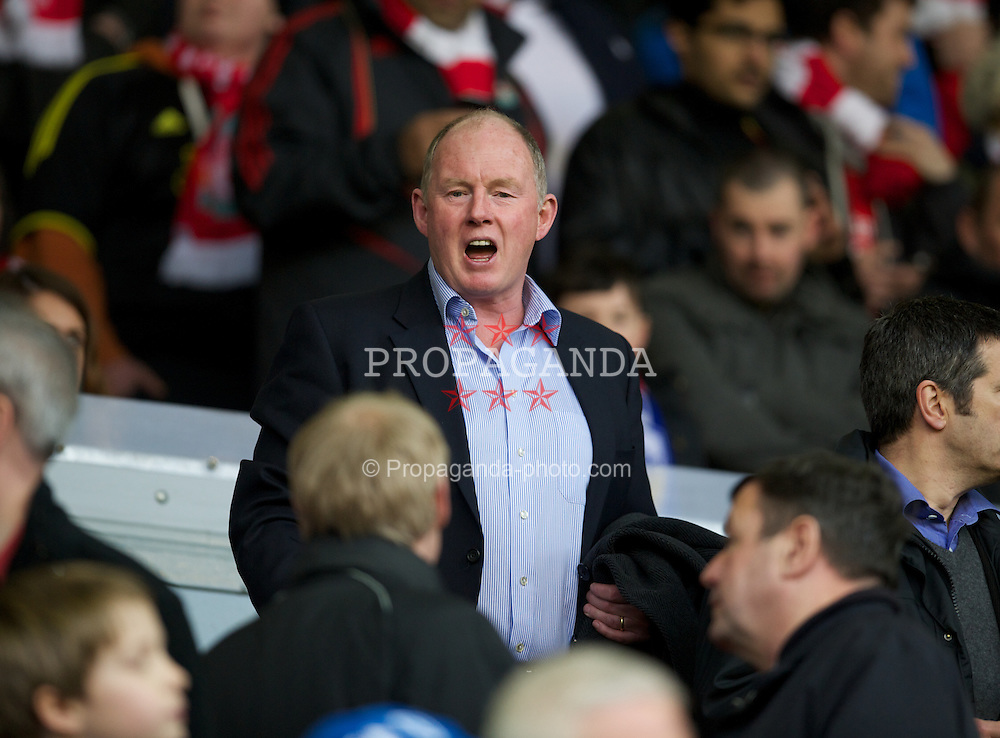 LIVERPOOL, ENGLAND - Saturday, February 19, 2012: Wolverhampton Wanderers' Chairman, and Liverpool supporter, Steve Morgan in the Director's Box before the FA Cup 5th Round match between Liverpool and Brighton & Hove Albion at Anfield. (Pic by David Rawcliffe/Propaganda)