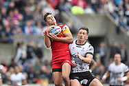 Josh McCrone of Toronto Wolfpack  and Alex Walker of London Broncos challenge for the ball in the air during the Super 8s Qualifiers Million Pound Game at Lamport Stadium, Toronto, Canada<br /> Picture by Stephen Gaunt/Focus Images Ltd +447904 833202<br /> 07/10/2018