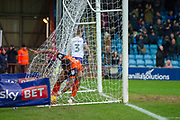 Scunthorpe United striker Ivan Tony (9) picks the ball up out of the net after Scunthorpe United striker Lee Novak (17) scores a goal 1-2 during the EFL Sky Bet League 1 match between Scunthorpe United and Rotherham United at Glanford Park, Scunthorpe, England on 10 February 2018. Picture by Craig Zadoroznyj.