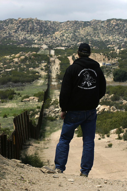 ..Greg Imus a minuteman member patrolling the U.S  border in Boulevard about 65 miles (104.6 km) east of downtown San Diego try to stop undocumented immigrants that try to cross the border to the U.S ..22 of April 2006........