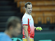 Wroclaw 29/01/2013.Hala Stulecia.Davis Cup .Poland vs Slovenia.The captain  of Polish team Radoslaw Szymanik during the training session.Photo by : Piotr Hawalej
