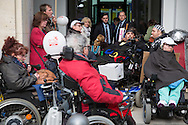 Berlin, Germany - 04.05.2016<br /> <br /> Protest for participation, during the European protest day for the equality of people with disabilities, up to 100 protestors block the street in front of the Federal Ministry of Labour and Social Affairs. Then some of them occupied the foyer of the Ministry. Securities intervened quickly and prevented that other protesters could enter the building. After negotiations, a meeting with representatives of the Ministry has been agreed, the protestors left after about 1 1/2 hours the Ministry.<br /> <br /> Protest fuer Teilhabe, im Rahmen des europaeischer Protesttag f&uuml;r die Gleichstellung von behinderten Menschen blockierten bis zu 100 Menschen die Stra&szlig;e vor dem Bundesministerium fuer Arbeit und Soziales. Anschlie&szlig;end besetzten einige von ihnen das Foyer des Ministerium, der Sicherheitsdienst schritt schnell ein und verhinderte, dass weitere Protestler ins Geb&auml;ude gelangen konnten. Nachdem in Verhandlungen ein Gespraechstermin mit Vertretern des Ministerium verabredet wurde, verlie&szlig;en die Demonstranten nach etwa 1 1/2 Stunden das Ministerium. <br />  <br /> Photo: Bjoern Kietzmann