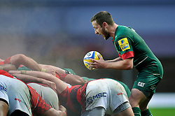Davie Mele of Leicester Tigers looks to put the ball into a scrum - Photo mandatory by-line: Patrick Khachfe/JMP - Mobile: 07966 386802 23/11/2014 - SPORT - RUGBY UNION - Oxford - Kassam Stadium - London Welsh v Leicester Tigers - Aviva Premiership