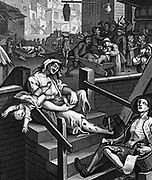 Gin Lane is a print issued in 1751 by William Hogarth (1697 – 1764) an English painter, printmaker,  in support of what would become the Gin Act.  It depicts the evils of the consumption of gin