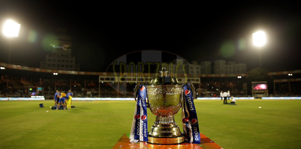 IPL Trophy during the eliminator match of the Pepsi Indian Premier League Season 2014 between the Chennai Superkings and the Mumbai Indians held at the Brabourne Stadium, Mumbai, India on the 28th May  2014<br /> <br /> Photo by Sandeep Shetty / IPL / SPORTZPICS<br /> <br /> <br /> <br /> Image use subject to terms and conditions which can be found here:  http://sportzpics.photoshelter.com/gallery/Pepsi-IPL-Image-terms-and-conditions/G00004VW1IVJ.gB0/C0000TScjhBM6ikg