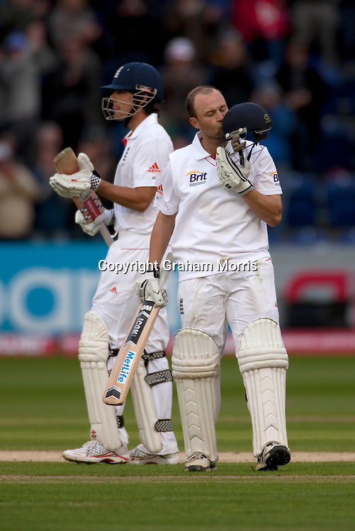 Alastair Cook congratulates Jonathan Trott (right) on his century during the first npower Test Match between England and Sri Lanka at the SWALEC Stadium, Cardiff.  Photo: Graham Morris (Tel: +44(0)20 8969 4192 Email: sales@cricketpix.com) 28/05/11