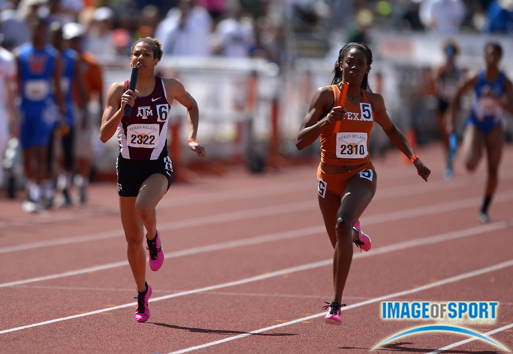 Mar 29, 2014; Austin, TX, USA; Ashley Spencer of Texas (right) holds off Ashley Collier of Texas A&M on the anchor of the womens 4 x 200 relay in the 87th Clyde Littlefield Texas Relays at Mike A. Myers Stadium. Texas won in 1:31.58 and Texas A&M was second in 1:31.82.