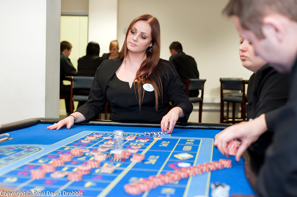 Trainee Anna Ryding  at the Genting Club Croupier School in Sheffield..13 June 2012.Image © Paul David Drabble