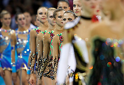 Gymnasts from various countries walk in a row after the group all-around finals for rhythmic gymnastics during the Olympic games in Beijing, China, 24 August 2008. Russia won the gold for the event while China and Belarus take the silver and bronze respectively.