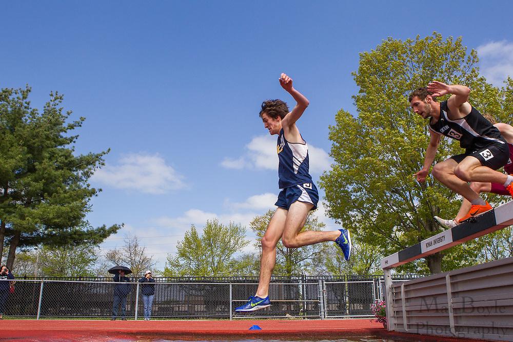 3000 meter men's steeplechase at the NJAC Track and Field Championships at Richard Wacker Stadium on the campus of  Rowan University  in Glassboro, NJ on Sunday May 5, 2013. (photo / Mat Boyle)