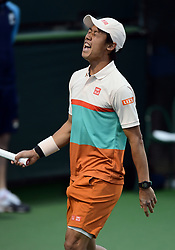 March 8, 2019 - Indian Wells, CA, U.S. - INDIAN WELLS, CA - MARCH 08: Kei Nishikori (JPN) reacts after losing a point in the second set of a doubles match during the BNP Paribas Open played at the Indian Wells Tennis Garden in Indian Wells, CA. (Photo by John Cordes/Icon Sportswire) (Credit Image: © John Cordes/Icon SMI via ZUMA Press)