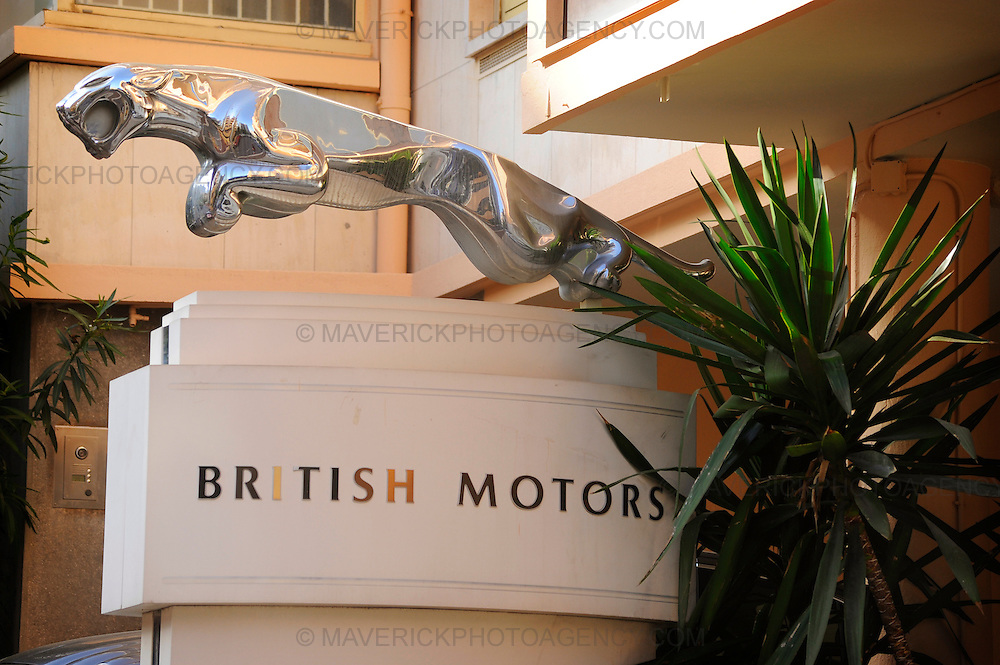 A Jaguar statue sits outside a garage on the streets of Monaco, Monte Carlo.