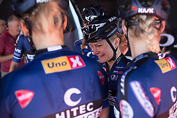 Emilie Moberg (NOR) of Hitec Products Cycling Team smiles at the sign on tent before Stage 2 of the Giro Rosa - a 122.2 km road race, between Zoppola and Montereale Valcellina on July 1, 2017, in Pordenone, Italy. (Photo by Balint Hamvas/Velofocus.com)