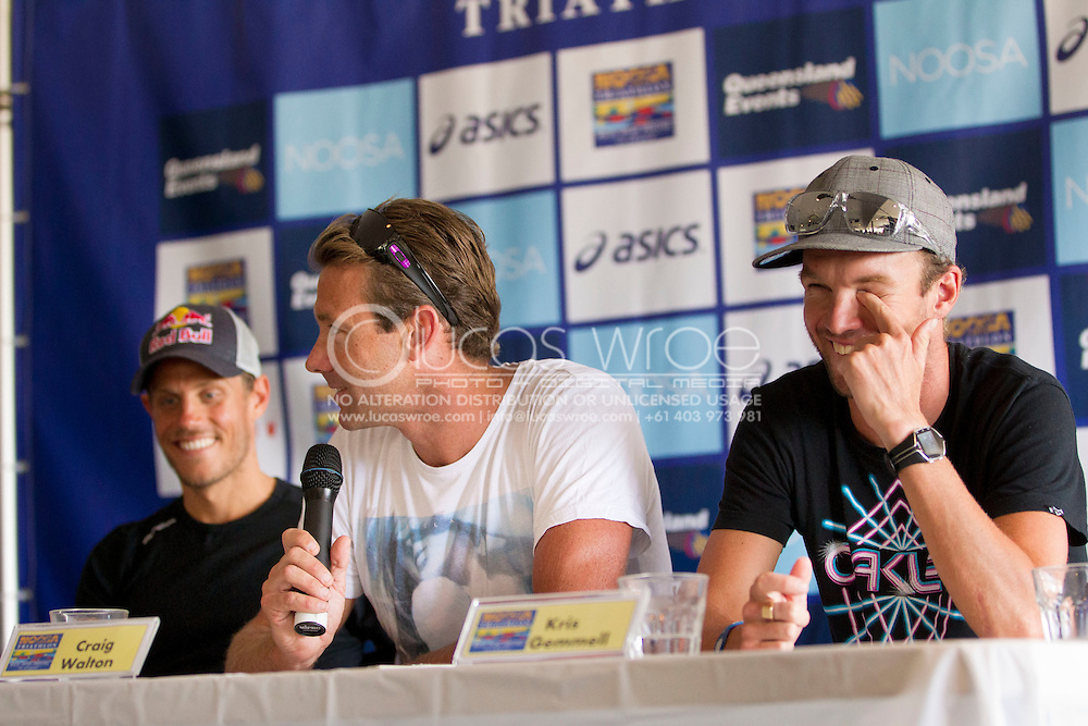 2010 Noosa Triathlon Festival.Noosa Triathlon Launch Press Conference.Craig Walton speaks as to his motivations for returning to competition at the Noosa Triathlon, as Courtney Atkinson and Kris Gemmel contain themselves..29/10/2010.Noosa Surf Club, Noosa, Queensland, Australia.