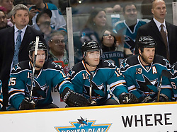 December 30, 2009; San Jose, CA, USA; San Jose Sharks left wing Dany Heatley (15) and center Patrick Marleau (12) and center Joe Thornton (19) sit on the bench during the first period against the Washington Capitals at HP Pavilion.  The three were named to the 2010 Canadian Olympic Hockey team.  San Jose defeated Washington 5-2. Mandatory Credit: Jason O. Watson / US PRESSWIRE