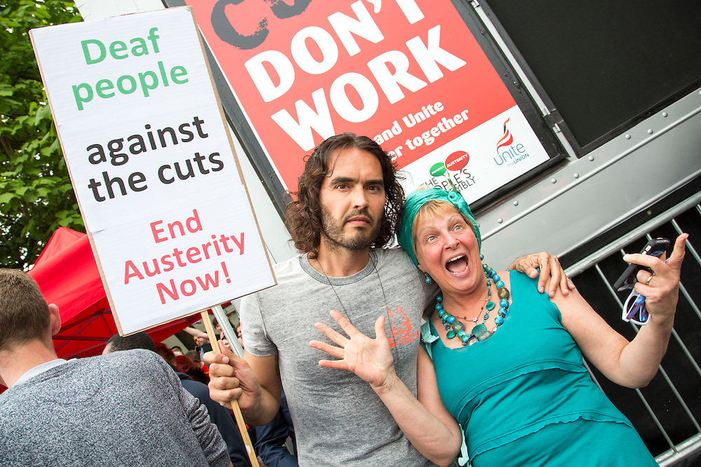 Russell Brand supporting Deaf People Against the Cuts at the People's Assembly Against Austerity 'End Austerity Now' demonstration attended by over 250,000 people on Saturday 20th of June 2015 sending a clear message to the Tory government; demanding an alternative to austerity and to policies that only benefit those at the top. London, UK.