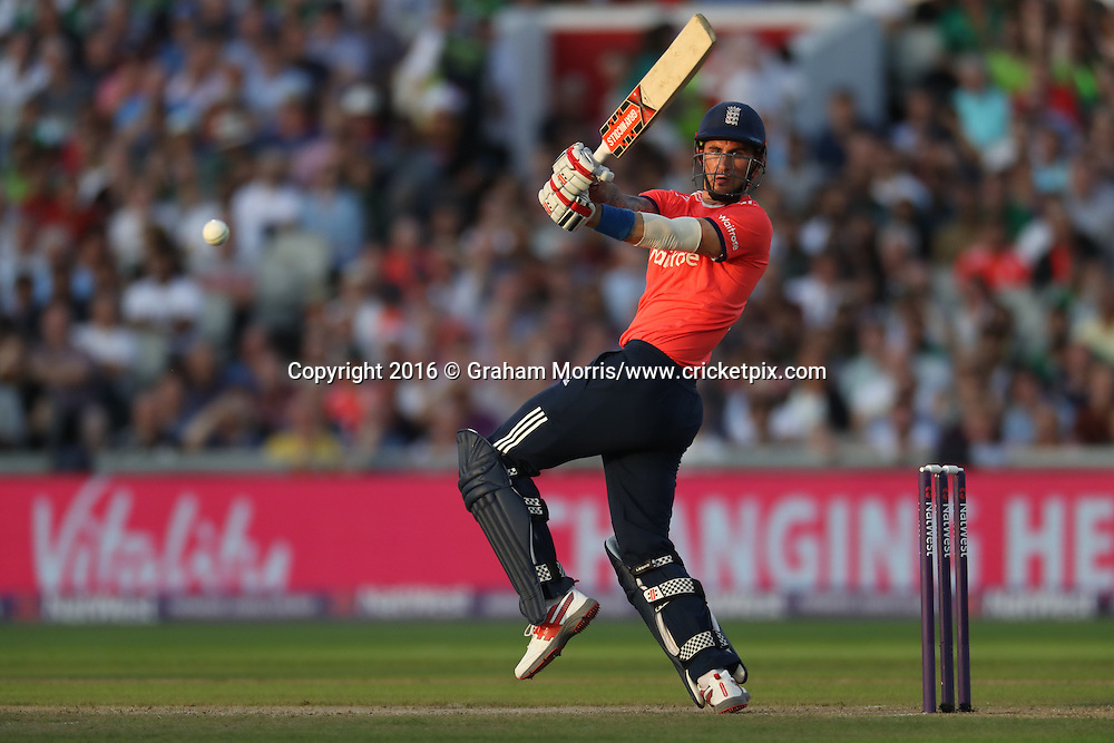 Alex Hales batting.<br /> England v Pakistan, only T20 at Manchester, England. 7 September 2016.<br /> Pakistan won by 9 wickets (with 31 balls remaining).<br /> Copyright photo: Graham Morris / www.photosport.nz