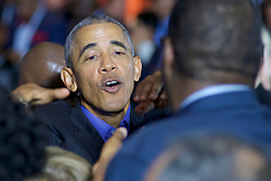 Former US president Barack Obama returns on the campaign trail at a rally for New Jersey gubernatorial candidate Philip Murphy, in Newark, NJ, on October 19, 2017.