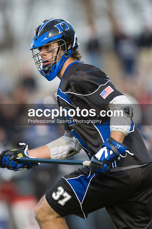 01 March 2008: Duke Blue Devils men's lacrosse defenseman Mike Manley (37) in a 15-7 win over the Maryland Terrapins at Koskinen Stadium in Durham, NC