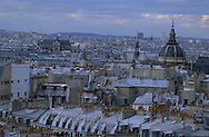France. Paris. elevated view. Paris and the dome of the Val de grace hospital. view from Saint Jacques du haut pas church bell tower.