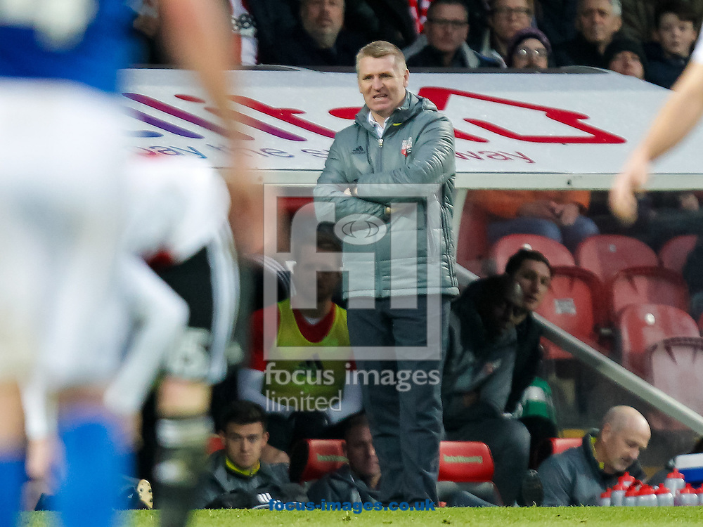 Brentford Head Coach Dean Smith during the FA Cup 3rd round match between  Brentford and Eastleigh FC  at Griffin Park, London<br /> Picture by Mark D Fuller/Focus Images Ltd +44 7774 216216<br /> 07/01/2017
