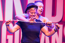 © Licensed to London News Pictures. 01/09/2016. Guest and CHRISTOPHER WAYNE perform their show THE NAKED MAGICIANS at Trafalgar Studios. London, UK. Photo credit: Ray Tang/LNP