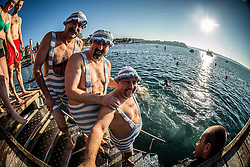 Traditional New Year's jump into the Adriatic sea, on January 1, 2017 in Portoroz/Portorose, Slovenia. Photo by Vid Ponikvar / Sportida