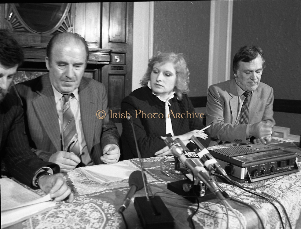 TD,s Press Conference at Wynns Hotel..1981..20.04.1981..04.20.1981..20th April 1981..After their visit to Hunger Striker, Bobby Sands, the TD's held a press conference at Wynns Hotel, Abbey Street, Dublin..Image shows the TD's and Mr Carron taking their places at the table at the conference.