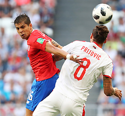 SAMARA, June 17, 2018  Cristian Gamboa (L) of Costa Rica competes for a header with Aleksandar Prijovic of Serbia during a group E match between Costa Rica and Serbia at the 2018 FIFA World Cup in Samara, Russia, June 17, 2018. Serbia won 1-0. (Credit Image: © Ye Pingfan/Xinhua via ZUMA Wire)
