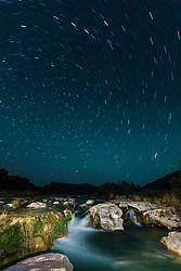 Dolan Falls at night, painted by flashlight, Dolan Falls Preserve, Devils River, Texas