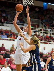 November 1, 2009; Stanford, CA, USA;  Stanford Cardinal forward/center Jayne Appel (2) shoots over Vanguard Lions guard Jaclyn Blied (2) during the first half at Maples Pavilion.