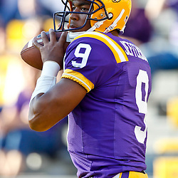 October 16, 2010; Baton Rouge, LA, USA; LSU Tigers quarterback Jordan Jefferson (9) during warm ups prior to kickoff of a game against the McNeese State Cowboys at Tiger Stadium.  Mandatory Credit: Derick E. Hingle