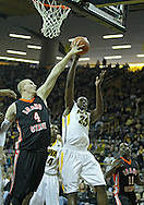 December 04 2010: Iowa Hawkeyes forward Devon Archie (35) tries to get a shot over Idaho State Bengals center Kamil Gawrzydek (4) during the first half of their NCAA basketball game at Carver-Hawkeye Arena in Iowa City, Iowa on December 4, 2010. Iowa won 70-53.