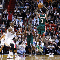22 January 2012: Milwaukee Bucks point guard Brandon Jennings (3) takes a jumpshot during the Milwaukee Bucks 91-82 victory over the Miami Heat at the AmericanAirlines Arena, Miami, Florida, USA.