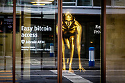 A bitcoin ATM at the Falcon crypto currency company in Zurich. Zurich is by far the biggest city in Switzerland, with a population near 1.83 million in the metropolitan area. It is also the finacial center in Switzerland.