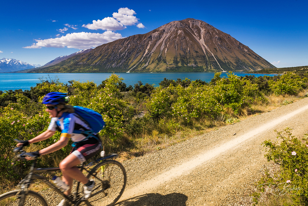 Cyclist on the Alps to Ocean Cycle Trail at Lake Ohau, Southern Alps, Canterbury, South Island, New Zealand