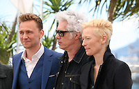 Actor Tom Hiddleston, Director Jim Jarmusch and Actress Tilda Swinton at Only Lovers Left Alive Photocall Cannes Film Festival On Saturday 26th May May 2013