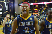 Kent State Golden Flashes forward BJ Duling (2) reacts after defeating the Vanderbilt Commodores during the second half of an NCAA basketball game in Nashville, Tenn., Friday, Nov. 23, 2018. Kent State won 77-75. (Jim Brown/Image of Sport)